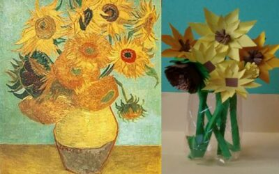 """The Sunflowers"" - Vincent van Gogh by Blanca, student of Óscar Valero at the school SEK Ciudad del Campo, Madrid"